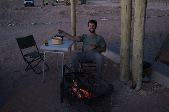 There is nothing like cooking dinner over an open fire while watching the African sunset